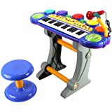Fun Party Voice Synthesizer Children's Musical Instrument Toy Keyboard Play Set, 37 Key Piano w/ Microphone, Stool, Records and Playbacks Music (Blue)