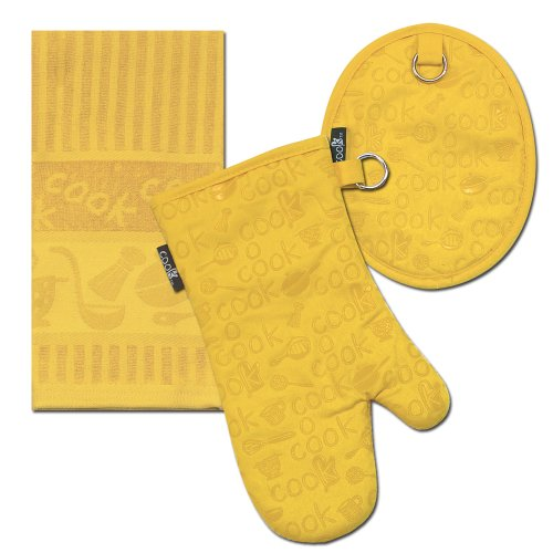 Kay Dee Designs Cook Towel/Pot Holder/Oven Mitt Set, Lemon
