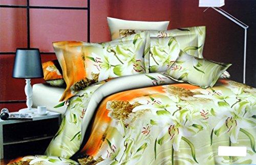 Valtellina Valtellina Pleasing Floral Art 4D Print Double Bed Sheet (JA-016) (Multicolor)