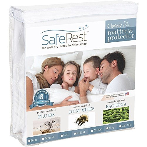Queen Size SafeRest Premium Hypoallergenic Waterproof Mattress Protector - Vinyl Free (Uga Twin Quilt compare prices)