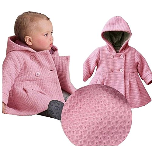 EGELEXY Baby Girl's Hooded Wool Cotton Trench Coat Outwear 18-24months Pink