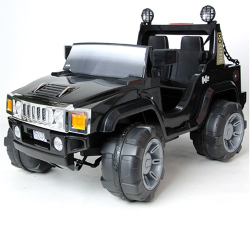 Hummer-Style Jeep Twin Seat 12V Battery Powered Ride-On - Black