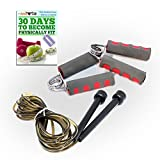 Effective Fitness Exercise Hand Grips & PVC Jump Rope Combo Set [Bundle Pack - 2 Items] - The Basics Included: 1 Pair Cushioned PRO Forearm Cross Fit Strength Training Resistance & Body Speed Workout Jump Rope-Weight Loss Kit and SPECIAL Bonus GUIDE