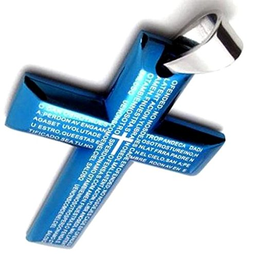 Cross Necklace silver chain gift pair OK accessories cross pendant (blue)
