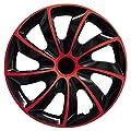 Universal-Radkappen Set - Quad Bicolor in Schwarz/Rot (BIC Rot 14 Zoll) von Autoteppich Stylers - Reifen Onlineshop