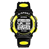 Bestpriceam 1pc Mens Boys Waterproof Sports Digital LED Alarm Date Rubber Band Wrist Watch Yellow