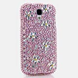 3D Luxury Swarovski Crystal Sparkle Diamond Bling Light Pink with Flowers Design Case Cover for Samsung Galaxy S4 S 4 IV i9500 fits Verizon, AT&T, T-mobile, Sprint and other Carriers (Handcrafted by BlingAngels®)