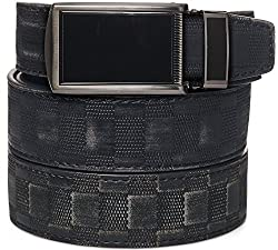 SlideBelts Men's Leather Belt without Holes - Black Buckle / Checkered Leather (Trim-to-fit: Up to 48