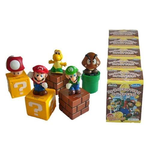 Set of 5pcs Super Mario, Luigi, Yoshi, Mushroom Action Figures