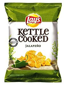Lay's Kettle Cooked Potato Chips, Jalapeno, 8.5 Ounce (Pack of 4)