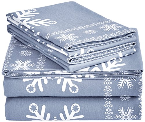Pinzon Flannel Sheet Set - Twin XL, Snowflake Dusty Blue (Flannel Sheets Twin Xl compare prices)