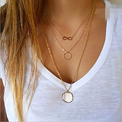 Leiothrix Morden Multielement Multilayer Alloy Golden Necklace for Women and Girls Apply to Weeding Party Casual