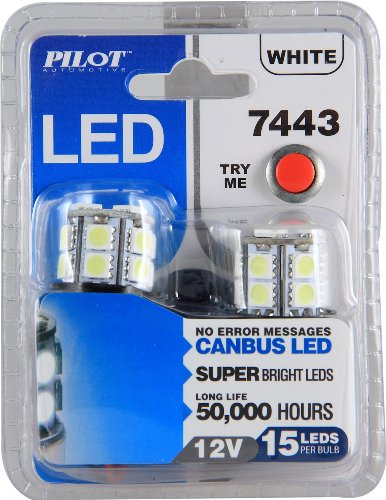 Pilot Automotive (Il-7443W-15) White 15-Smd Led Turn/Tail Light Bulb - 2 Piece