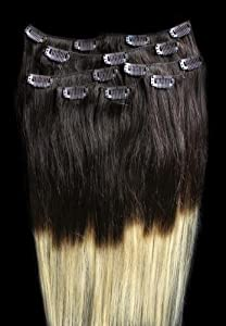 """24"""" 100% REMY Human OMBRE Hair Extensions 7Pcs Clip in #T2/24 (Light Golden Blonde)"""