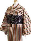 遠州木綿プレタ 綿着物 小紋仕立て上がり 単衣 布はし紬/縞 ベージュLB 橙