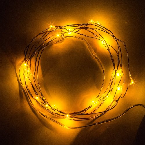 Bmouo 7Ft/2M 20Leds Copper Wire Led Strings Aa Battery Powered Operated Ultra Thin String Lights Wire Portable Christmas Trees Lighting Decorative Led Strings (Yellow)