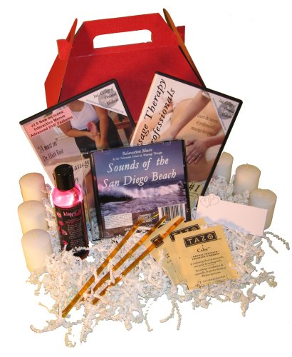 Mother's Day Massage Gift Basket: Basic Massage DVD, Professional Massage DVD, Oil, Relaxation Music (2 DVD/1 Oil/1 CD)