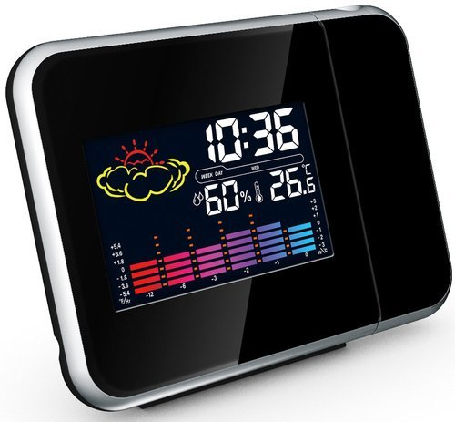 Techcode Projection Clock - Projection Alarm Clock With Weather Station Clock