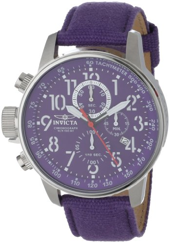 Invicta Force Lefty Men's Quartz Watch with Purple Dial Chronograph Display and Purple Nylon Strap 11522