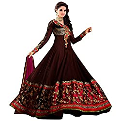 Livaaz Womens Georgette Anarkali Unstitched Dress Material (Sf100896 _Brown)