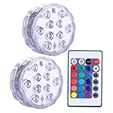 Submersible LED Lights Remote Controlled, Set of 2 Qoolife Battery Powered RGB Multi Color Changing Waterproof Light for Event Party and Home Decoration