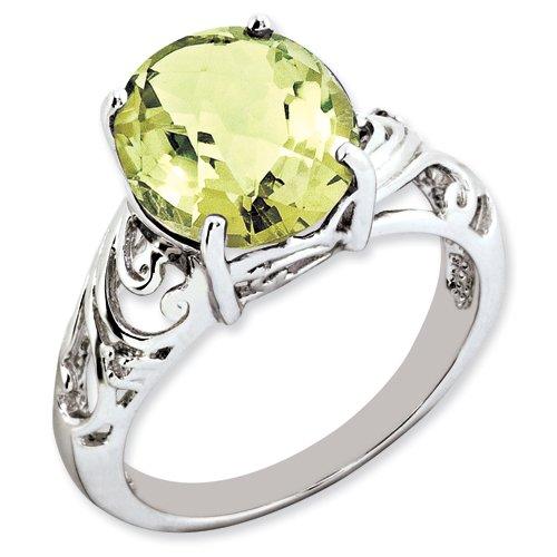Sterling Silver Oval Lemon Quartz & Diamond Ring