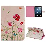 Sealike Case For Mini iPad 2 PU Leather Slim Case & Flower Floral Case Cover with Stand Function for iPad Mini with a Stylus(Romatic Flowers #2)