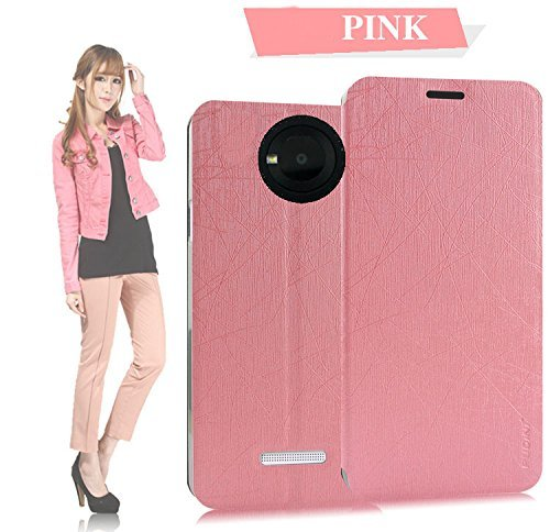 Tarkan Pudini PU Leather Slim Flip Cover Case with Convertible Back Stand for Micromax YU Yuphoria (Pink)