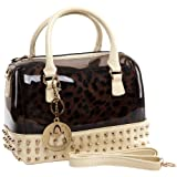 MG Collection MENTHA 2 in 1 Gothic Studded Doctor Tote Style Candy Handbag