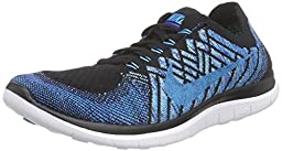 Nike Mens Free 4.0 Flyknit Running Shoes Black/Royal Blue/Turquoise 717075-004 Size 12
