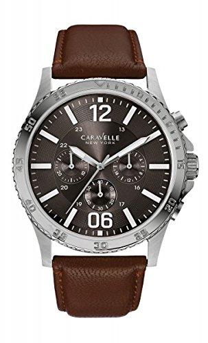 Caravelle New York 43A128 - Reloj para hombres, correa de cuero color marrón