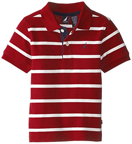 Nautica Little Boys' Short Sleeve Stripe Jersey Polo, Red Rouge, 3T