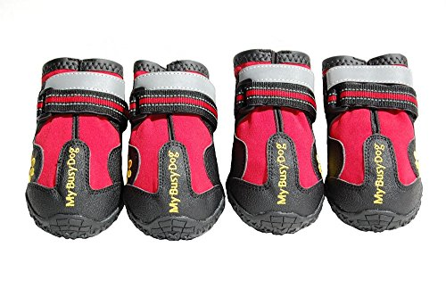 Waterproof Dog Shoes with Reflective Velcro and Rugged Anti-Slip Sole (Size 3, Red)