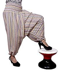 Cotton Aladdin Striped Genie Harem Beggy Pants Gypsy Trousers Free Size (Gray)