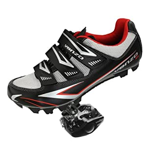 Venzo Mountain Bike Bicycle Cycling Shimano SPD Shoes + Pedals & Cleats 43 (Black )