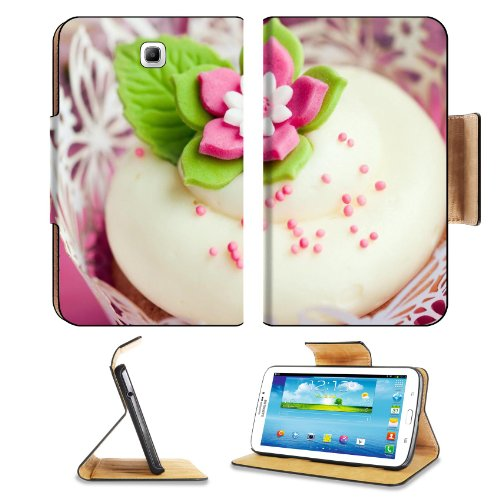 Cute Pink Flower Cupcake Dessert Samsung Galaxy Tab 3 7.0 Flip Case Stand Magnetic Cover Open Ports Customized Made To Order Support Ready Premium Deluxe Pu Leather 7 12/16 Inch (190Mm) X 5 5/8 Inch (117Mm) X 11/16 Inch (17Mm) Luxlady Galaxy Tab3 Cases Ta