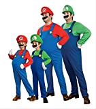 はじめてのコスプレ 手袋 つき スーパー マリオ ルイージ コスチューム /大人 子供 サイズ コスプレ 仮装 衣装 (フルセット 大人用ルイージ)
