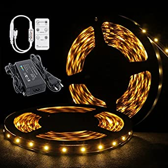 auralum 5m smd 300 led streifen band leiste strip warmweiss fernbedienung dimmer led band. Black Bedroom Furniture Sets. Home Design Ideas