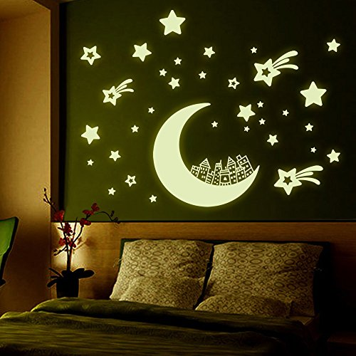 Kaimao DIY Glow in the Dark Luminous Light Star House Fluorescent Wall Stickers Art Decal Murals Removable Wallpapers for Home Decoration