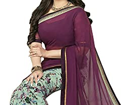 Pramukh saris Womens Georgette Printed Sari(Purple)