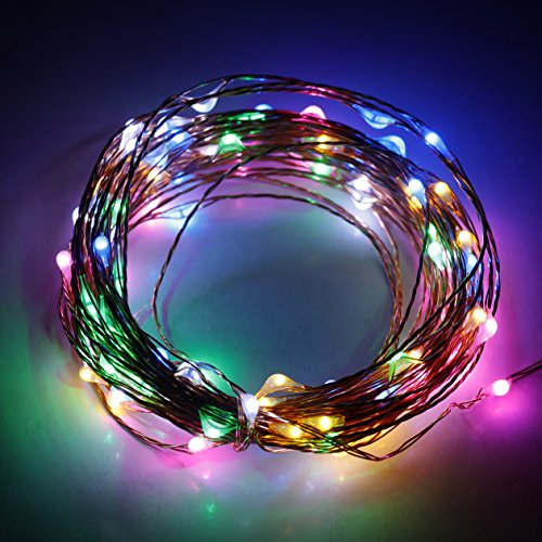 ER CHEN(TM)Indoor and Outdoor Waterproof Battery Operated 100 LED String Lights on 33 Ft Long Ultra Thin Copper String Wire with Timer (Multicolor)