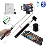 from ipow Ipow Extendable Self-portrait Wireless Bluetooth Remote Camera Shooting Shutter Monopod Selfie Handheld Stick Pole with Mount Holder specially designed for Iphone 6 5s 5c 5 4s 4 Samsung Galaxy Mobile Cell Phone (Black)