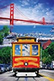 USA San Francisco Cable Car 57 And Golden Gate Bridge Large Art Poster 61 by 91.5cm