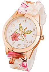 Bestpriceam Women Silicone Printed Flower Causal Quartz Wrist Watches Pink