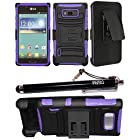 2-in-1 Bundle Combo SOGA® Black On Purple Hybrid Dual Layer Heavy Duty Armor Combat Case Cover With Belt Clip Holster Kickstand For LG Optimus Showtime L86C L86G Straight Talk / LG Splendor Venice US730 U.S. Cellular