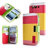 ATC Samsung i9300 Galaxy S3 Premium PU Leather Wallet Case With Card Holder (Red+Yellow+Pink)
