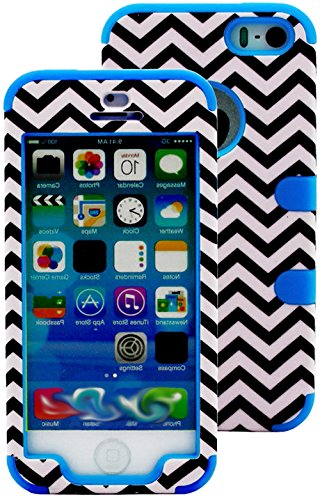 Mylife Electric Sky Blue And Black - Chevron Series (Neo Hypergrip Flex Gel) 3 Piece Case For Iphone 5/5S (5G) 5Th Generation Smartphone By Apple (External 2 Piece Fitted On Hard Rubberized Plates + Internal Soft Silicone Easy Grip Bumper Gel)