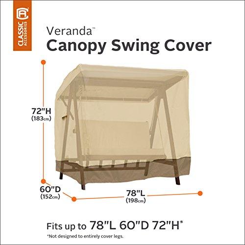 Classic Accessories Veranda Canopy Swing Cover, Pebble Bark and Earth