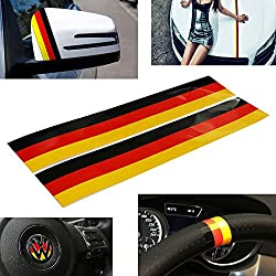 See iJDMTOY (2) Germany Flag Color Stripe Decal Sticker For Euro Car Audi BMW MINI Mercedes Porsche Volkswagen Exterior or Interior Decoration Details