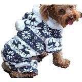 QIYUN.Z Casual Four Legs Black White Velvet Snow Deer Christmas Hoodie Dog Sweater Winter Warm Coat